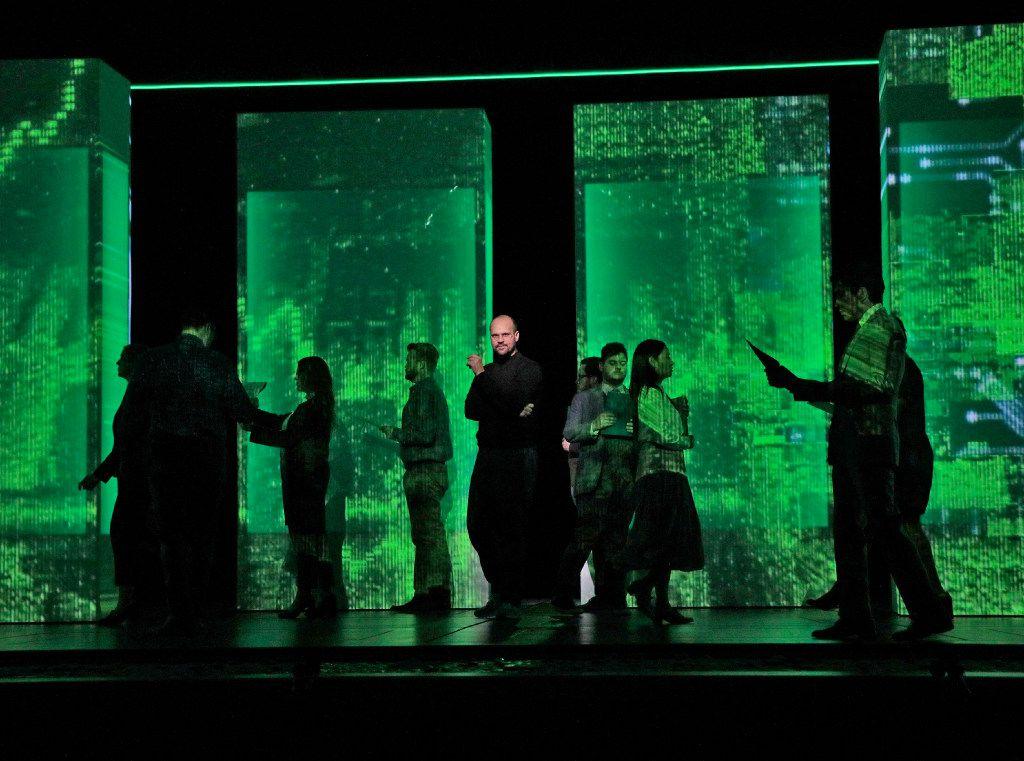 Edward Parks as Steve Jobs and the Santa Fe Opera Chorus in the Santa Fe Opera's The (R)evloution of Steve Jobs.
