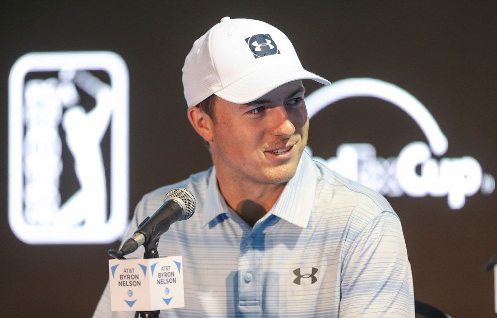 Professional golfer Jordan Spieth speaks to members of the media before the AT&T Byron Nelson on Wednesday, May 8, 2019, at Trinity Forest Golf Club in Dallas. (Ryan Michalesko/The Dallas Morning News)