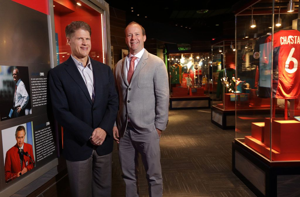 FC Dallas owners Clark Hunt, left, and Dan Hunt pose for a photograph at the Toyota Stadium Hall of Fame Club in Frisco, TX, on Oct. 15, 2018. (Jason Janik/Special Contributor)