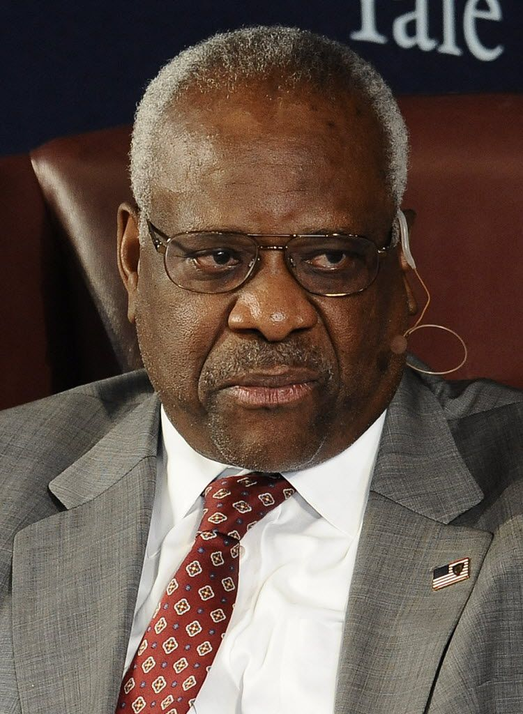 U.S. Supreme Court Justice Clarence Thomas sits for a conversation at Yale University on Oct. 25, 2014, in New Haven, Conn. Thomas graduated from Yale Law School in 1974.