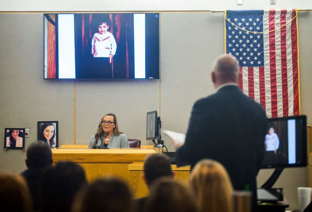Ashley Turner, sister of Kendra Hatcher, talked about a photo of Hatcher at age 3, pictured at top, during the punishment phase of a capital murder trial for Kristopher Love on Oct. 29, 2018 at the Frank Crowley Courts Building in Dallas. Love was convicted in the 2015 murder of pediatric dentist Kendra Hatcher, pictured at left. He could face the death penalty.