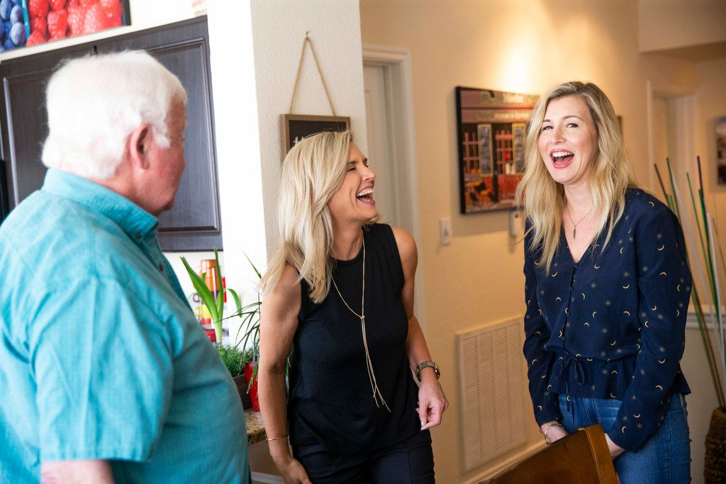 Former Dallas Times Herald photographer Eamon Kennedy chatted with sisters KK Robbins (center) and Katrina Leonard at his Plano home on May 25, 2019. Fifty-six years ago, Kennedy's iconic image of their mother, Kathey Atkinson, who was 12 at the time, became a symbol of the nation's collective grief over the assassination of President John F. Kennedy. Earlier this year, Kennedy and Robbins met by chance on a cruise ship in the South China Sea.
