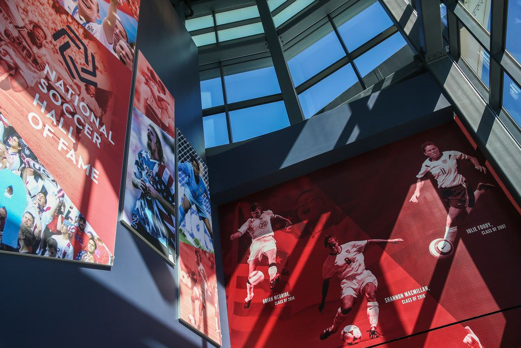 The entryway to the National Soccer Hall of Fame is pictured on Wednesday, Oct. 10, 2018 in Frisco, Texas. The Hall of Fame was added as part of the $55 million in renovations to Toyota Stadium. It opens to the public on Nov. 2.