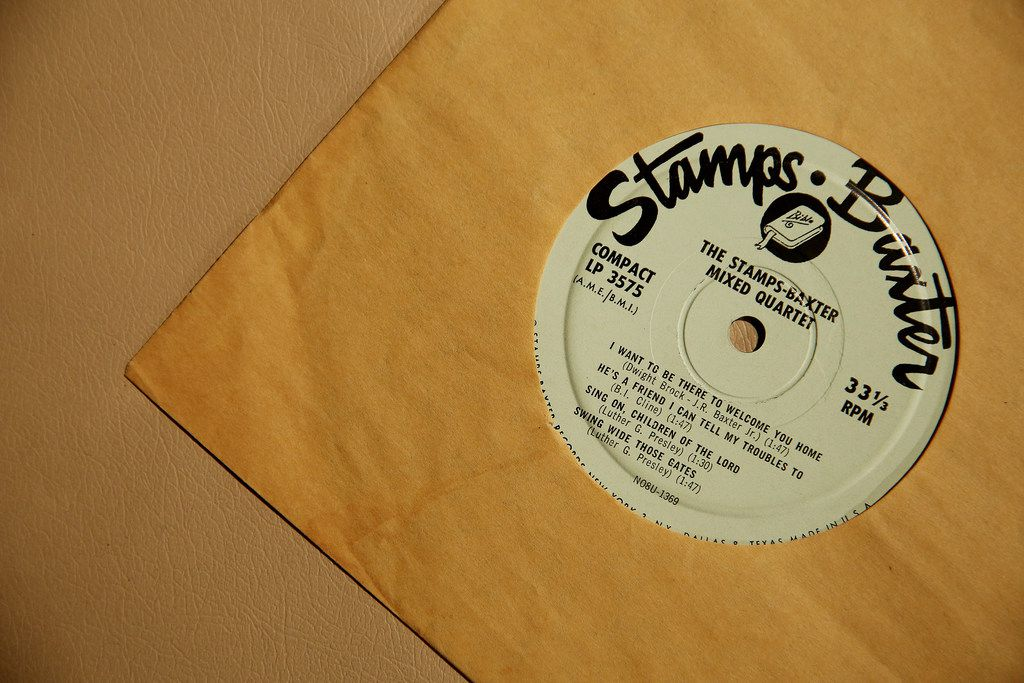 One of the Stamps-Baxter LPs Spence discovered in the building he renovated on South Tyler Street in Oak Cliff.