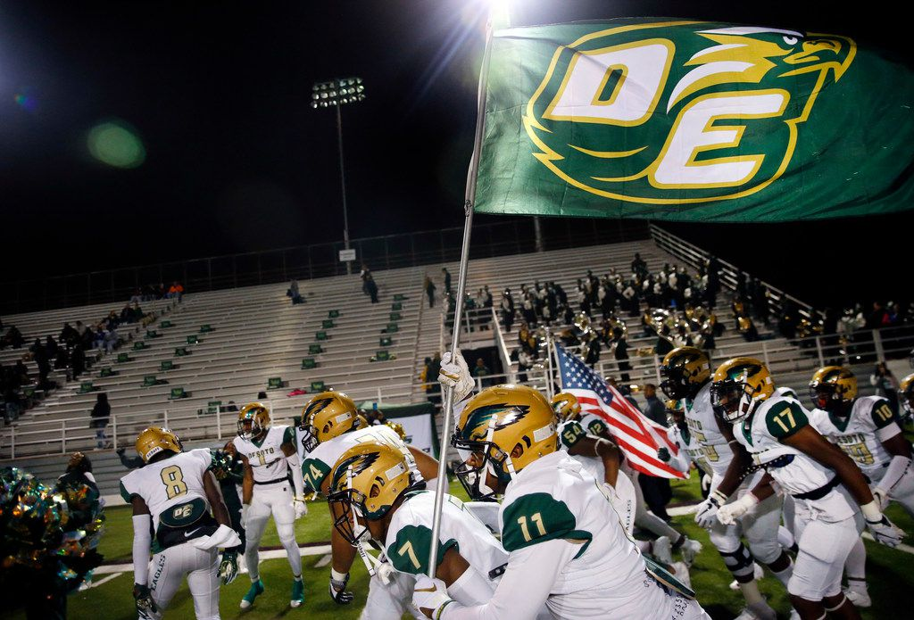 The DeSoto Eagles football team takes the field to face Skyline during their Class 6A Division I football playoff game at Forester Field in Dallas, Friday, November 16, 2018. (Tom Fox/The Dallas Morning News)
