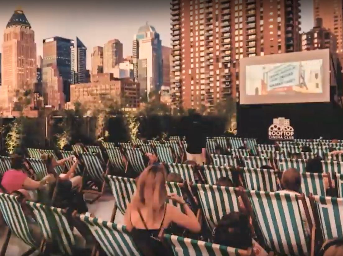 Rooftop Cinema Club uses the top of parking garages and buildings to screen movies.