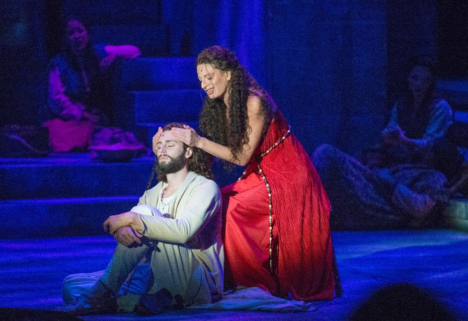 "Jackie Burns in the role of Mary Magdalene sings ""Everything;'s Alright"" to Daniel Rowan in the role of Jesus of Nazareth in the musical Jesus Christ Superstar at Casa Manana in Fort Worth, Texas on September 10, 2016. (Robert W. Hart/Special Contributor)"