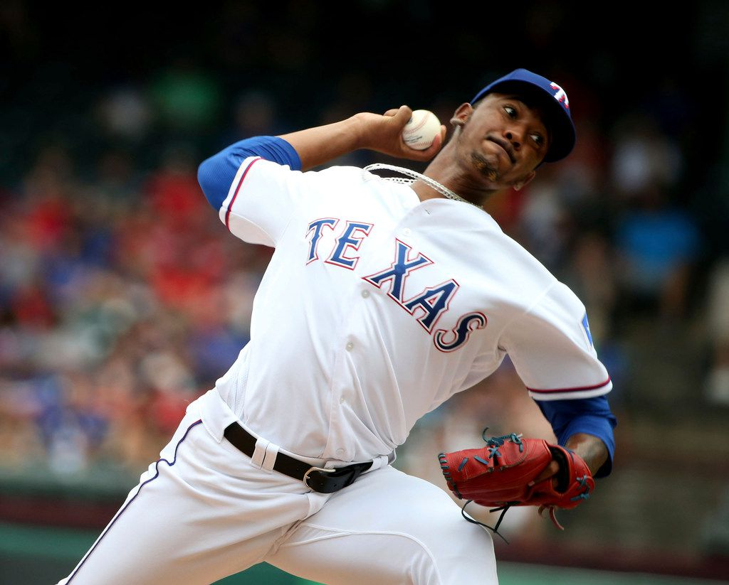 Texas Rangers relief pitcher Emmanuel Clase (43) pitches in his first major league game against the Detroit Tigers during the seventh inning of a baseball game Sunday, Aug 4, 2019, in Arlington, Texas. (AP Photo/Michael Ainsworth)