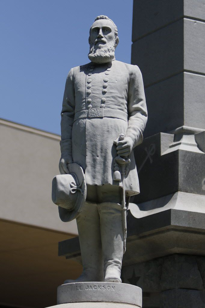 A Stonewall Jackson statue stands in Pioneer Park Cemetery.