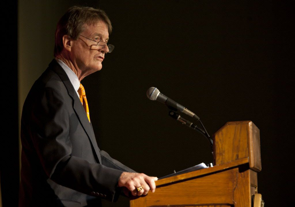 William Powers Jr , president of the University of Texas at Austin, delivered an address on the university's progress on undergraduate curriculum reform, teaching effectiveness, operational efficiency and research at Student Activity Center Auditorium in Austin on May 9, 2011.