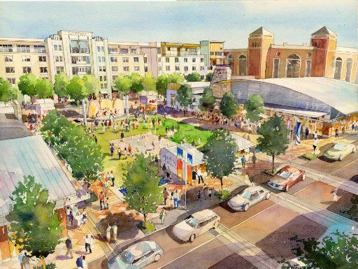 This artist rendering shows Glorypark Town Square looking northeast towards Rangers Ballpark in Arlington. The planned development fell despite the high hopes of the city and Texas Rangers ownership.
