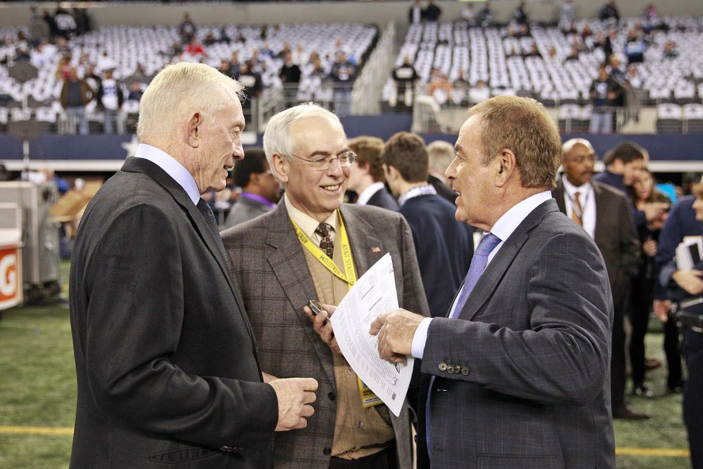 Dallas Cowboys owner Jerry Jones (left), Cowboys radio announcer Brad Sham (center) and NBC Sports announcer Al Michaels (right) talk before an NFL football game against the Philadelphia Eagles on Sunday, December 29, 2013 at AT&T Stadium in Arlington, Texas.  The Eagles defeated the Cowboys, 24-22.  (AP Photo/James D. Smith)