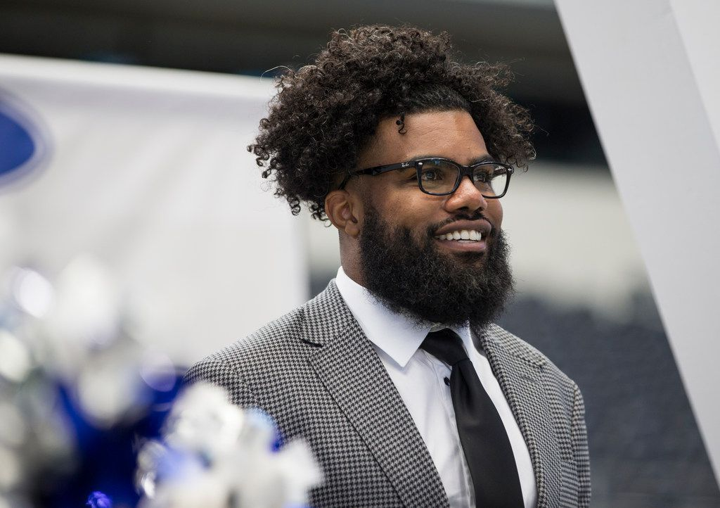 Running back Ezekiel Elliott is introduced during the annual Cowboys Kickoff Luncheon at AT&T Stadium in Arlington, Texas on Wednesday, August 29, 2018. (Ryan Michalesko/The Dallas Morning News)