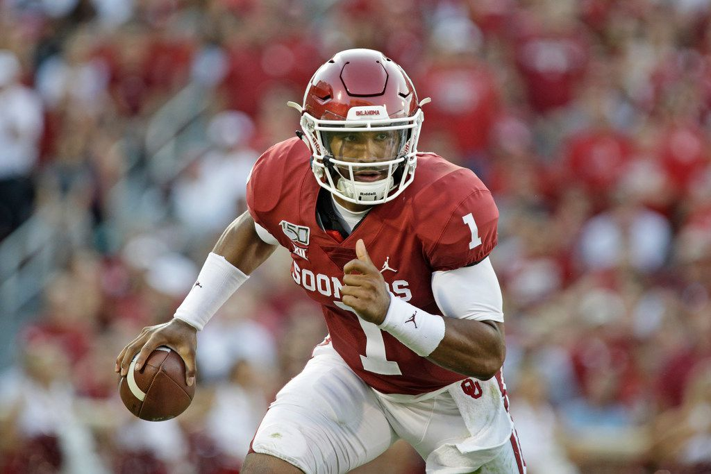 NORMAN, OK - SEPTEMBER 07: Quarterback Jalen Hurts #1 of the Oklahoma Sooners runs outside against the South Dakota Coyotes at Gaylord Family Oklahoma Memorial Stadium on September 7, 2019 in Norman, Oklahoma. (Photo by Brett Deering/Getty Images)
