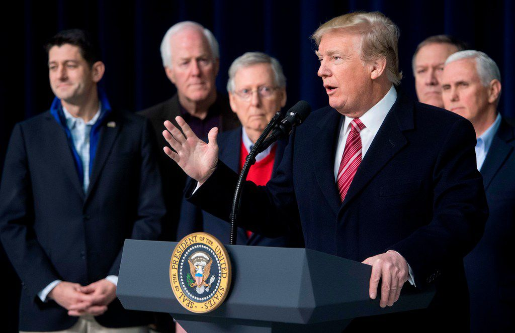 President Donald Trump speaks during a retreat with Republican lawmakers and members of his Cabinet at Camp David in Thurmont, Maryland, January 6, 2018. / AFP PHOTO / SAUL LOEBSAUL LOEB/AFP/Getty Images