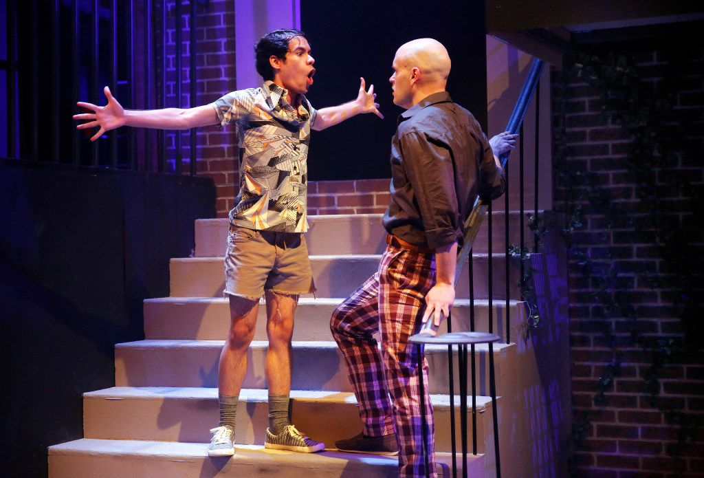 Joshua Gonzales as Tano (left), confronts Brandon Whitlock (A-Gay) in Hit the Wall, a regional premiere about the Stonewall Riots at WaterTower Theatre in Addison. It's the first play selected and directed by the company's  new artistic director Joanie Schultz.