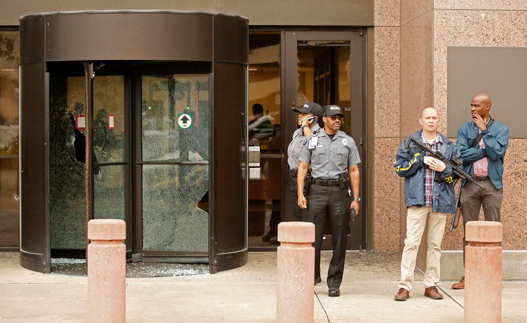 Security guards and other officers reacted shortly after shots were fired Monday morning, June 17, 2019, at the Earle Cabell federal courthouse in downtown Dallas. Law enforcement returned fire and killed the shooter.