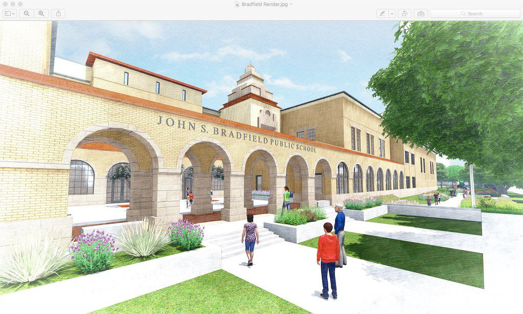 A rendering of John S. Bradfield Elementary School's new building set to be constructed in late-2018.