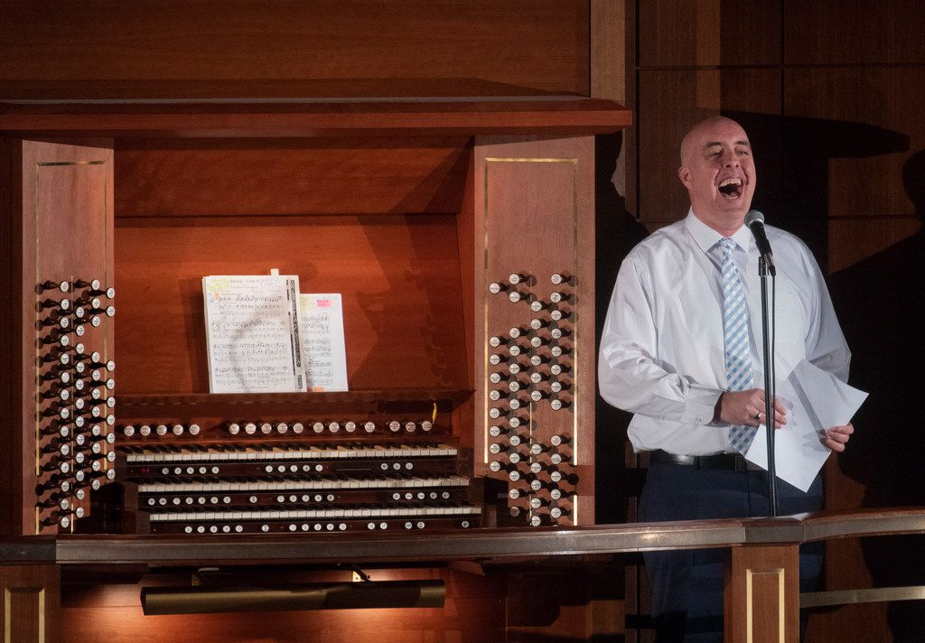 Organist Thomas Heywood was jovial in between pieces as he performed at the Meyerson Symphony Center.