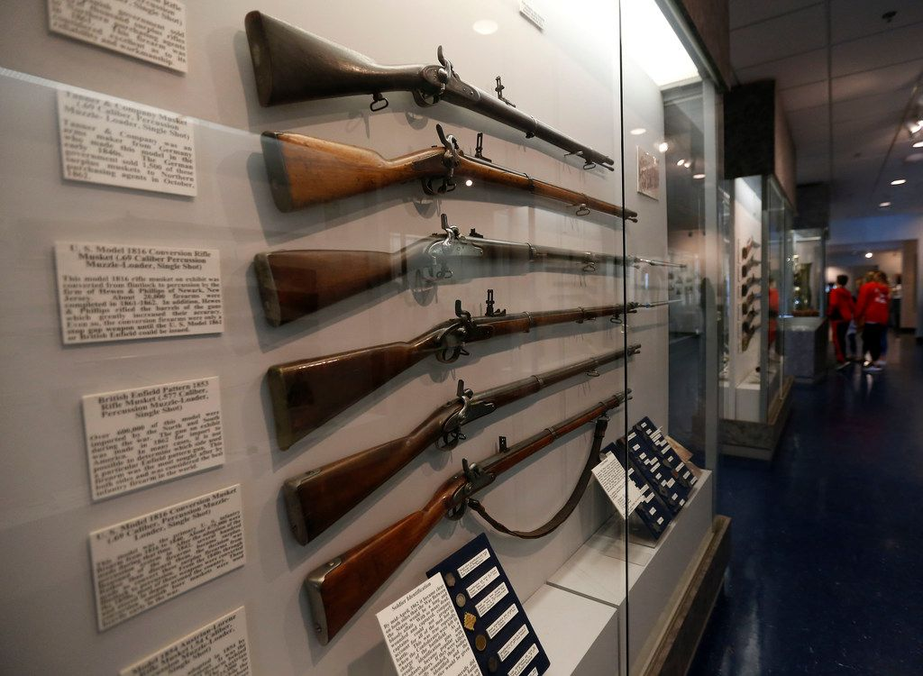 Soldiers' rifles are on display at the Texas Civil War Museum in White Settlement.