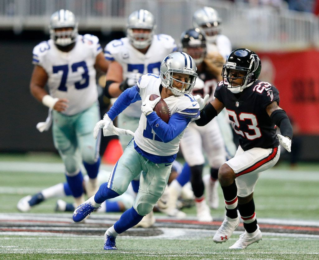 Dallas Cowboys wide receiver Cole Beasley (11) runs up the field after the catch for a 19 yard reception on the final drive during the second half of play at Mercedes-Benz Stadium in Atlanta on Sunday, November 18, 2018. Dallas Cowboys defeated the Atlanta Falcons 22-19. (Vernon Bryant/The Dallas Morning News)