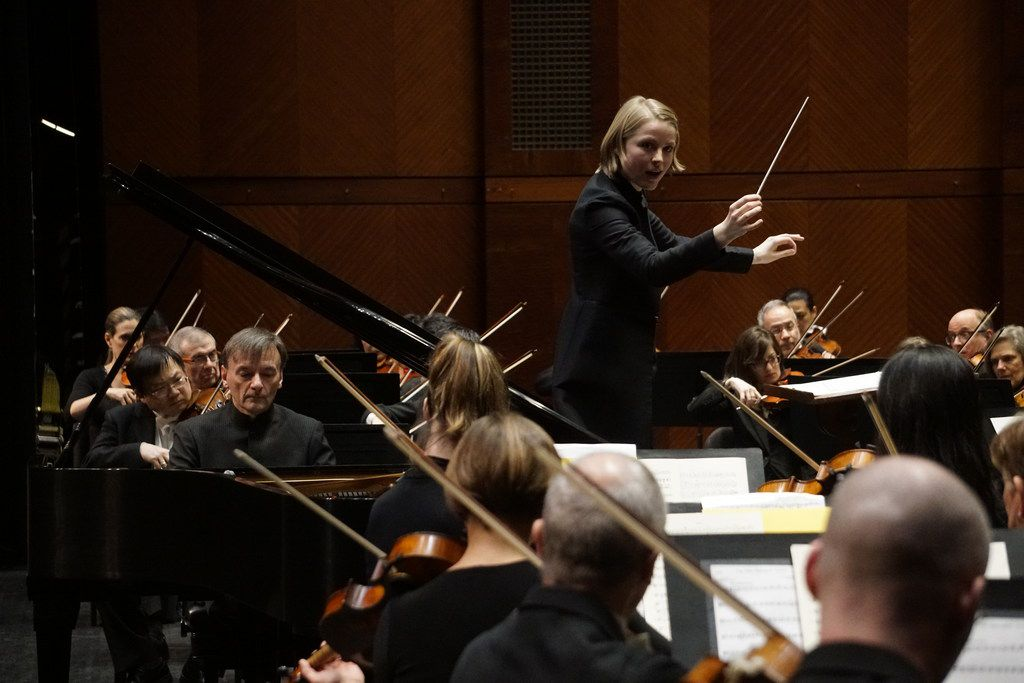 Guest Conductor Ruth Reinhardt directs the Fort Worth Symphony and pianist Stephen Hough at Bass Performance Hall in Fort Worth, Texas on Friday February 22, 2019. (Lawrence Jenkins/Special Contributor)