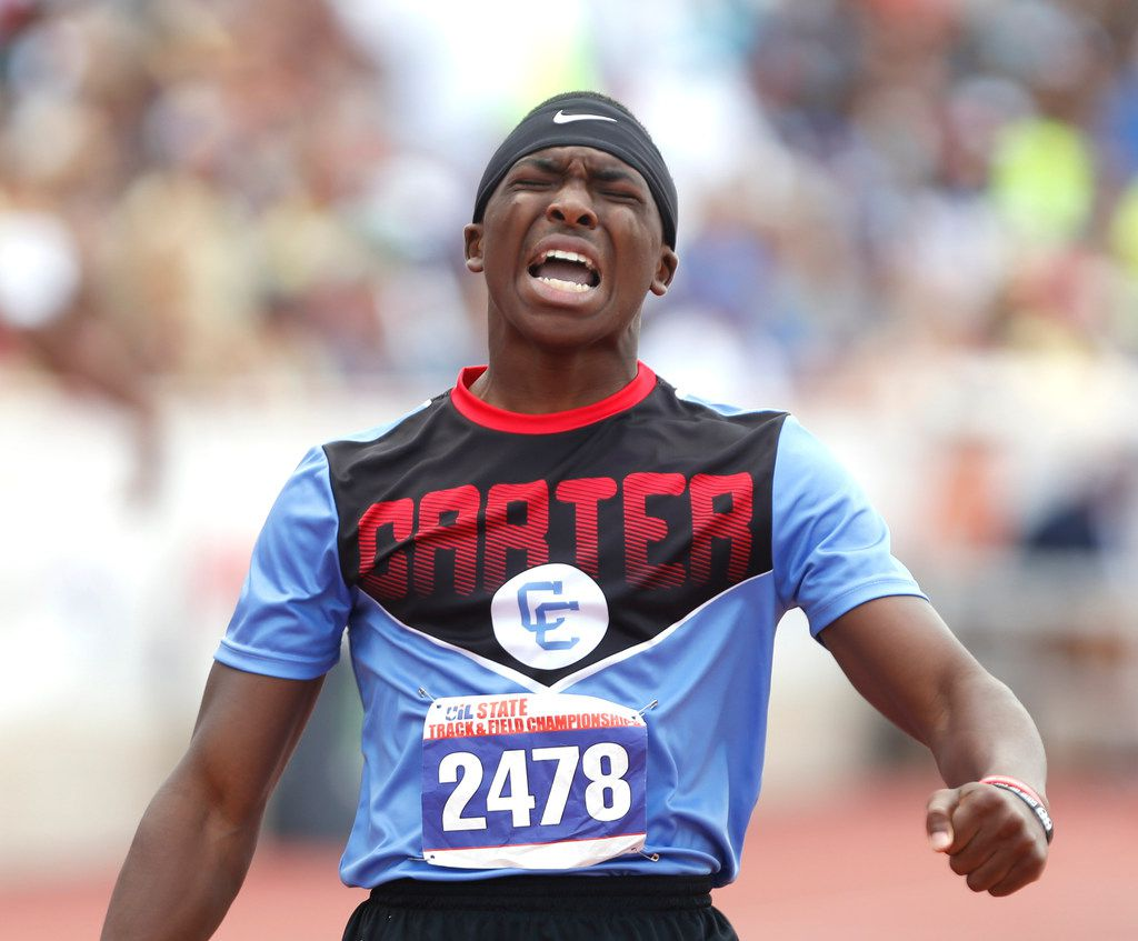 Carter's Lakyron Mays celebrates after winning in the 4A boys 400-meter dash on the final day of  the UIL state track and field meet on Saturday, May 12, 2018 in Austin. (Ronald Cortes/The Dallas Morning News)