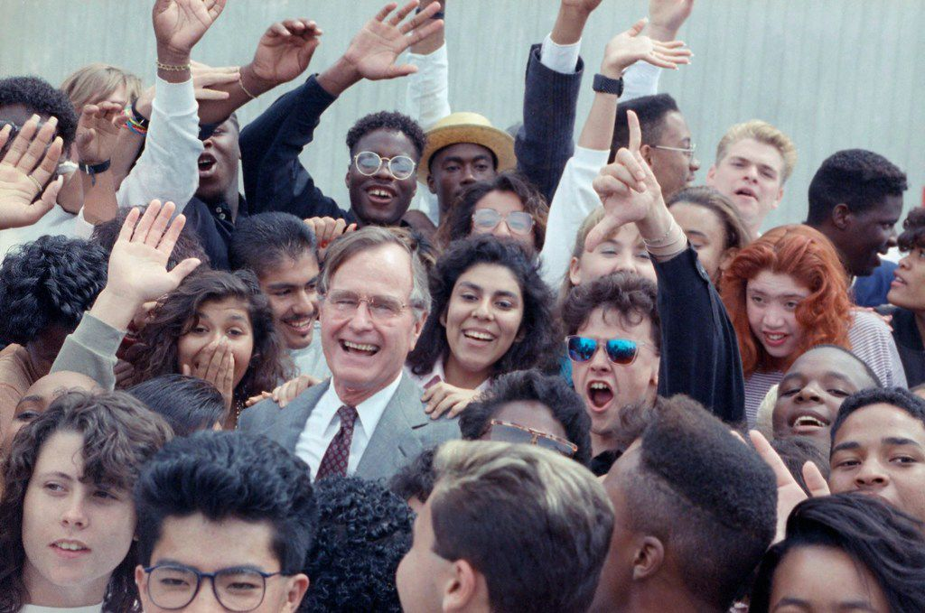 In 1990, President George H.W. Bush was surrounded by cheering students from the Independent Living Program in Los Angeles as he prepared to leave Los Angeles International Airport. The 41st president served from 1989 to 1993.