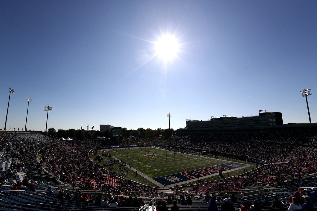 DALLAS, TEXAS - NOVEMBER 09: A general view of play between the East Carolina Pirates and the Southern Methodist Mustangs in the second half at Gerald J. Ford Stadium on November 09, 2019 in Dallas, Texas. (Photo by Ronald Martinez/Getty Images)
