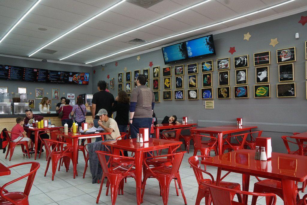 The customers love all the wrestling paraphernalia Maskaras Mexican Grill in Dallas.