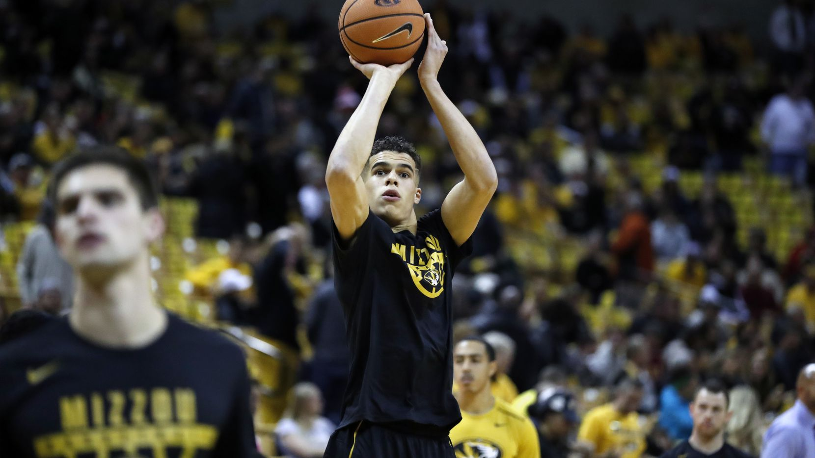 FILE - Missouri's Michael Porter Jr. warms up before the start of an NCAA college basketball game between Missouri and Iowa State Friday, Nov. 10, 2017, in Columbia, Mo. (AP Photo/Jeff Roberson)