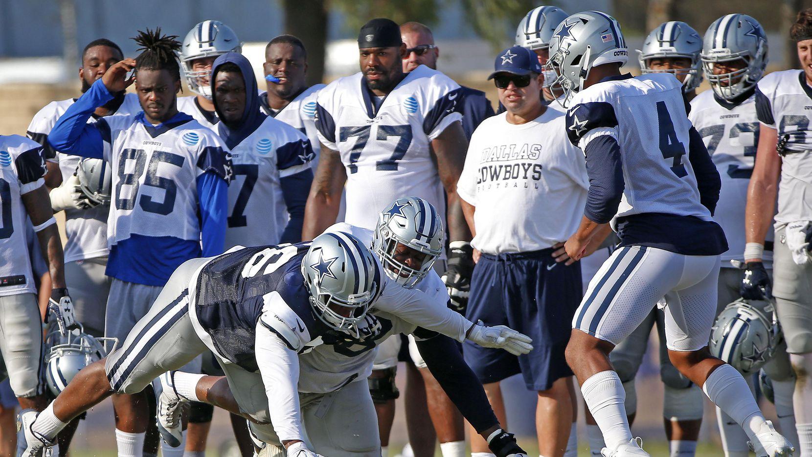 El guardia Kadeem Edwards (78) y otros jugadores de la reserva podrían ver acción el domingo con los Cowboys. (DMN/Jae S. Lee)