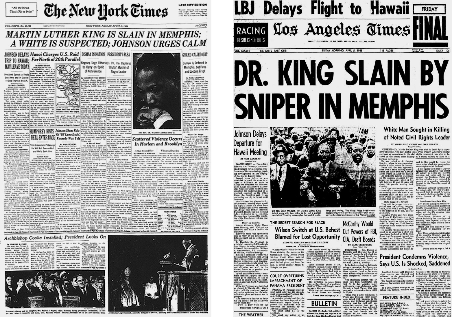 The New York Times and Los Angeles Times front pages