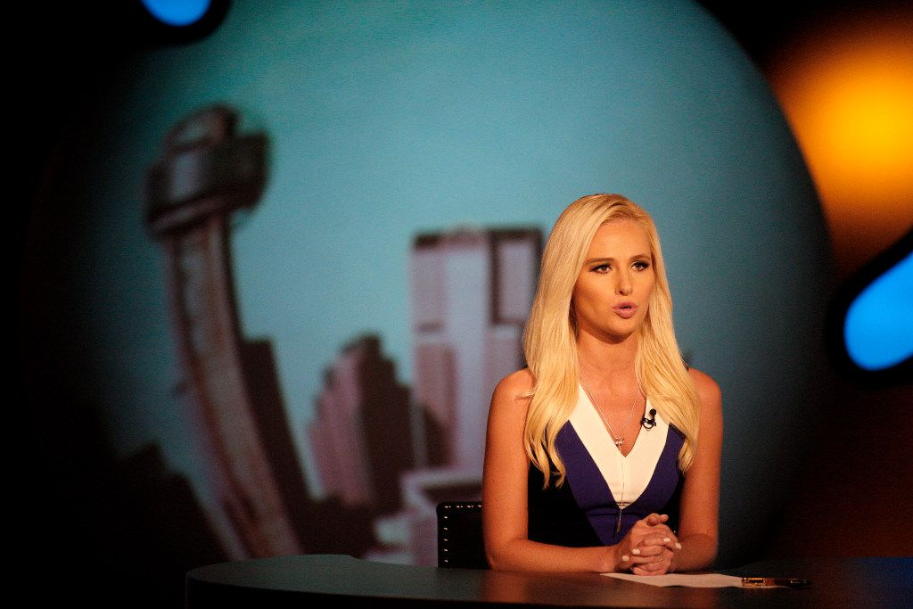Tomi Lahren appears on camera during a taping of her show in Irving. Lahren, 24, is a rising conservative commentator who hosts a show on Glenn Beck's The Blaze multimedia network.