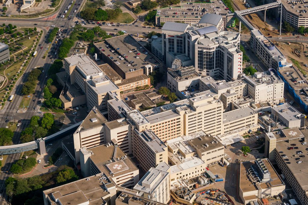 Aerial view of University of Texas Southwestern Medical Center (bottom) and Children's Medical Center Dallas (top) on Thursday, April 4, 2019, in Dallas. (Smiley N. Pool/The Dallas Morning News)