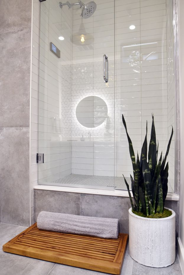 The shower inside a model apartment for Bluelofts urban high-rise facilities in downtown Dallas.