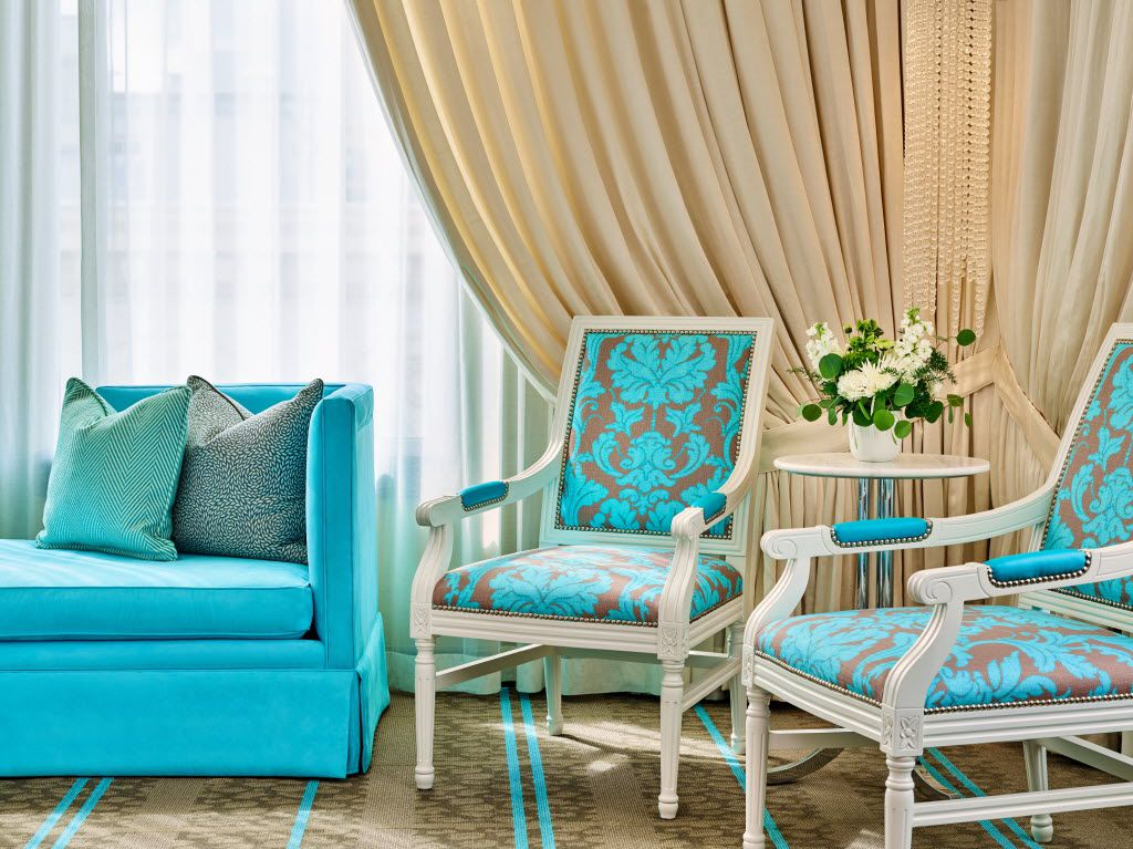 Tiffany blue-type velvet upholstery accent chairs are just a small part of the luxurious chic design of the Nines Hotel in downtown Portland, a Luxury Collection Hotel of Starwood.