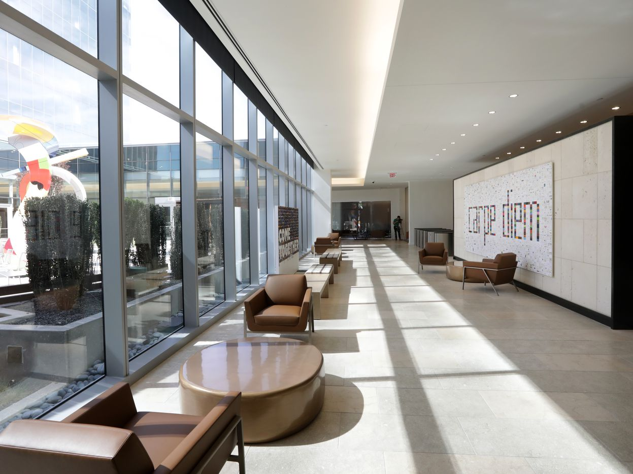 The employee entry lobby at the Liberty Mutual Insurance complex with a view of one of the interior courtyards.