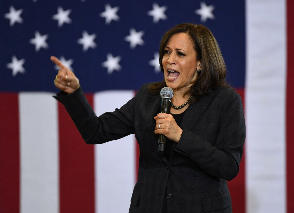 U.S. Sen. Kamala Harris, D-Calif., speaks during a town hall meeting at Canyon Springs High School on March 1 in North Las Vegas.