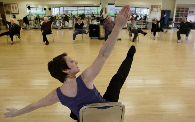 Misty Owens, instructor for the Dance for Movement Disorders Class leads the class in the Texas Health Presbyterian's Institute of Exercise and Environmental Medicine.