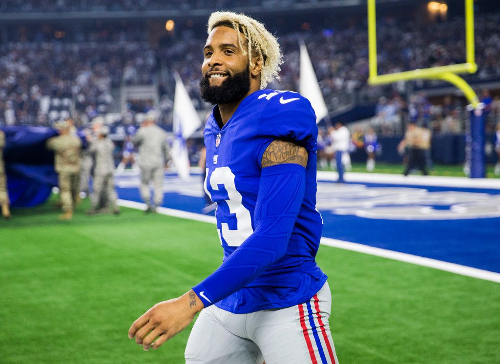 New York Giants wide receiver Odell Beckham (13) walks on the sideline before an NFL game between the Dallas Cowboys and the New York Giants on Sunday, September 16, 2018 at AT&T Stadium in Arlington, Texas. (Ashley Landis/The Dallas Morning News)