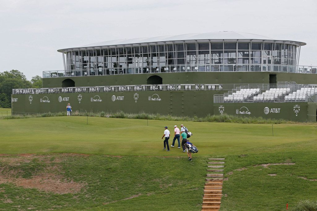 Pro golfers walked past Club 360 on Tuesday before the Byron Nelson tournament begins later in the week at Trinity Forest Golf Club in Dallas.