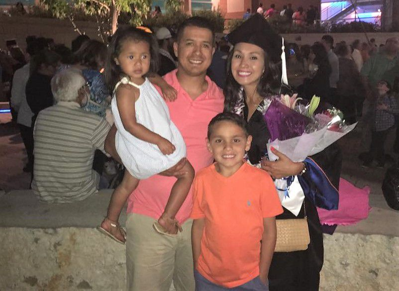 Kristy Hoover and DPD Officer Patrick Zamarripa with their daughter Lyncoln and Hoover's son from a prior marriage, Dylan, at Hoover's graduation from University of Texas at Arlington in May 2016, two months before Zamarripa was slain in the line of duty.