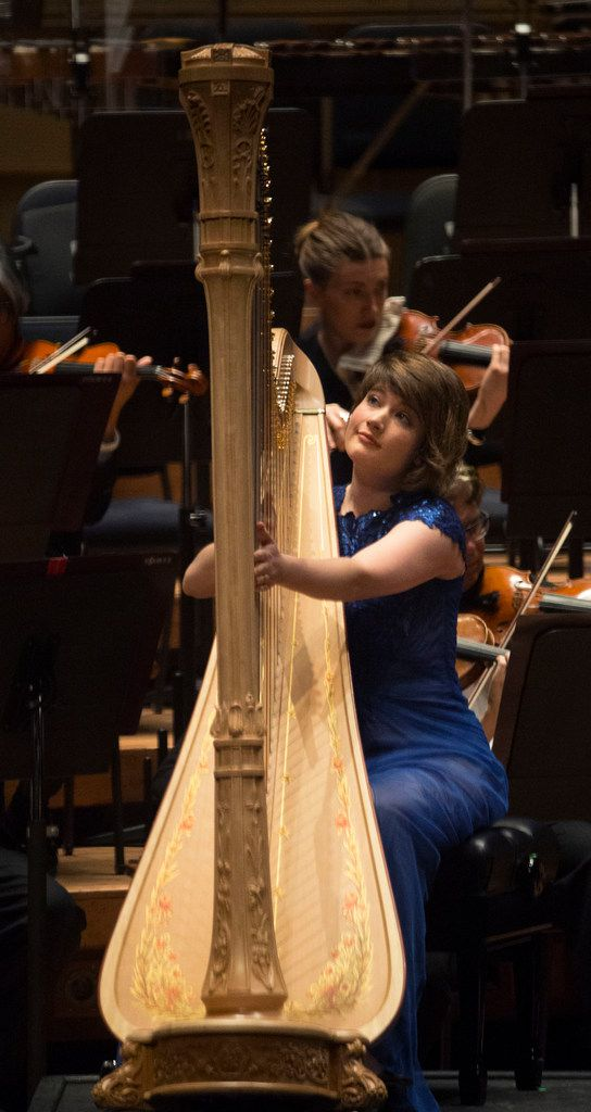 Principal harpist Emily Levin and the Dallas Symphony Orchestra perform at the Meyerson Symphony Center in Dallas on Jan. 31, 2019.
