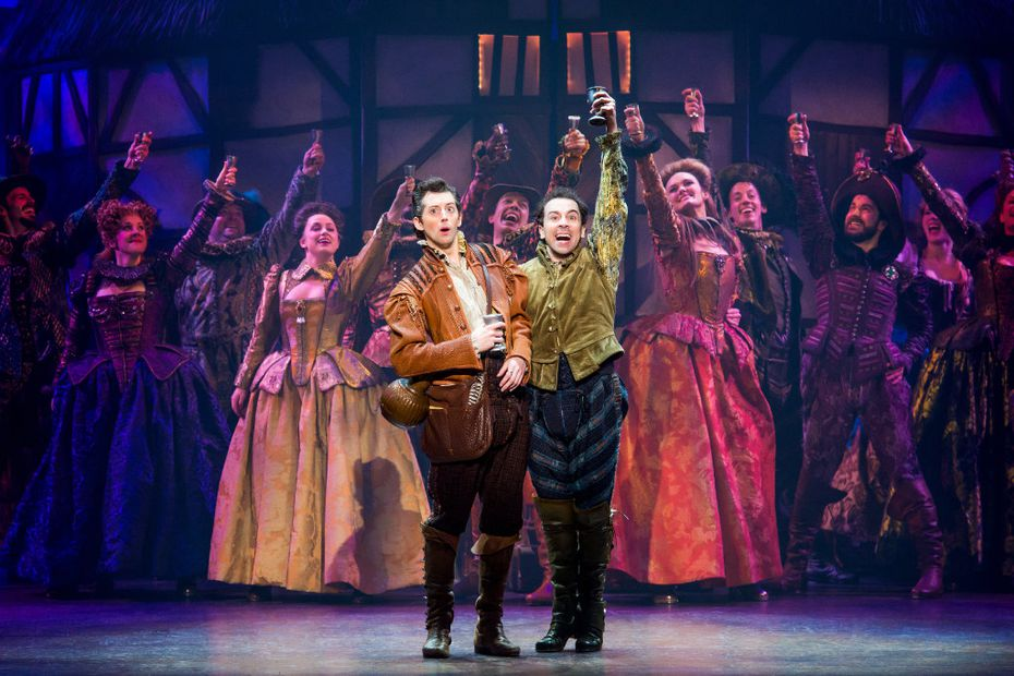 "From left: Gosh Grisetti and Rob McClure play brothers Nigel and Nick Bottom in the national tour of ""Something Rotten."""