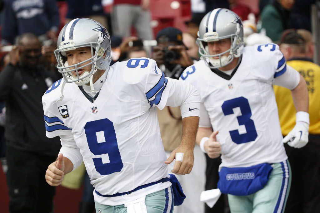 Dallas Cowboys quarterback Tony Romo (9) and backup quarterback Brandon Weeden (3) enter the field during stretches before the National Football League regular season finale game between the Dallas Cowboys and Washington Redskins at FedEx Field in Landover, Maryland Sunday December 28, 2014. The Dallas Cowboys beat the Washington Redskins 44-17. (Andy Jacobsohn/The Dallas Morning News) 01032015xALDIA