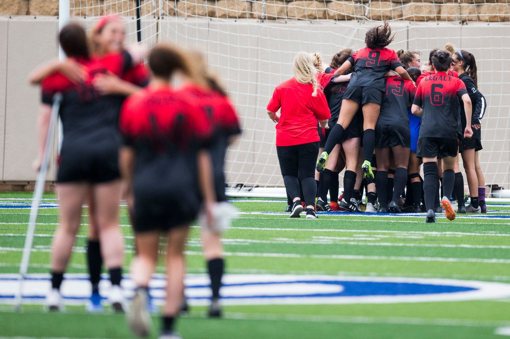 Mansfield Legacy players celebrate a 4-0 win after a UIL conference 5A girls state semifinal soccer game between Masfield Legacy High School and Dripping Springs High School on Thursday, April 18, 2019 at Birkelbach Field in Georgetown, Texas. Mansfield Legacy will advance to the 5A girls state final. (Ashley Landis/The Dallas Morning News)