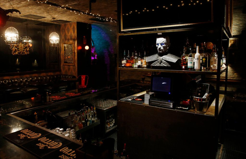 The Night King sits in the bar area of the Ill Minster Pub in Dallas