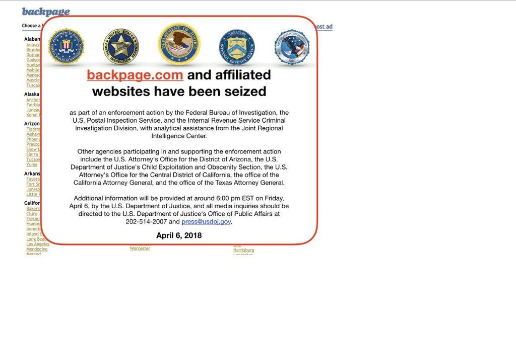 This screen grab image obtained April 9, 2018 shows backpage.com and affiliated websites that have been seized by the FBI in Washington, D.C.