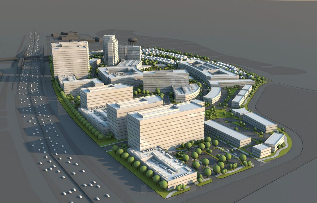 A rendering shows the 50-acre Palisades Village mixed-use development on U.S. 75 in Richardson.